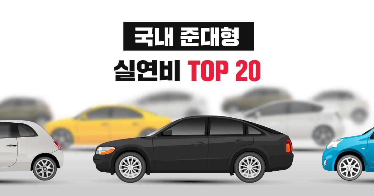국내 준대형 자동차 실연비, 공인연비 랭킹 TOP 20 - 실연비와 리얼후기, 모두의 차고