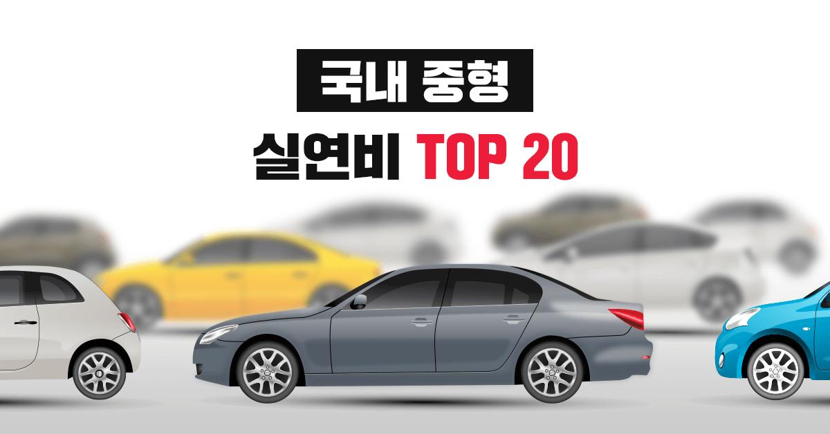 국내 중형 자동차 실연비, 공인연비 랭킹 TOP 20 - 실연비와 리얼후기, 모두의 차고